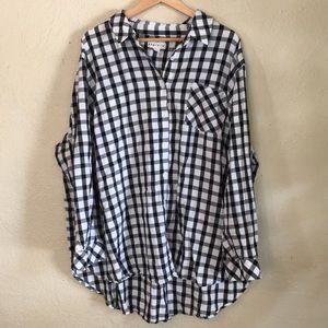 Ava & Viv White Black Plaid Check Flannel Shirt